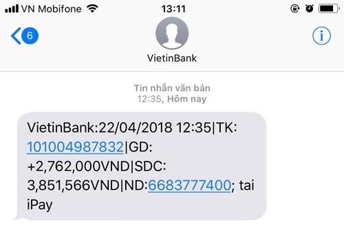 Chuyen khoan bang sms banking vietinbank