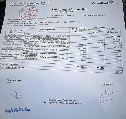 cách sao kê bảng lương ngân hàng vietinbank