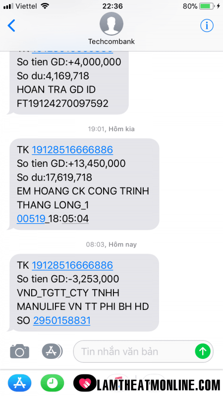 huy sms banking techcombank