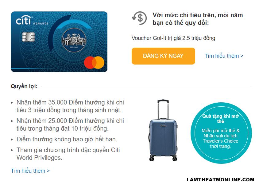 Mở thẻ tín dụng online Citibank