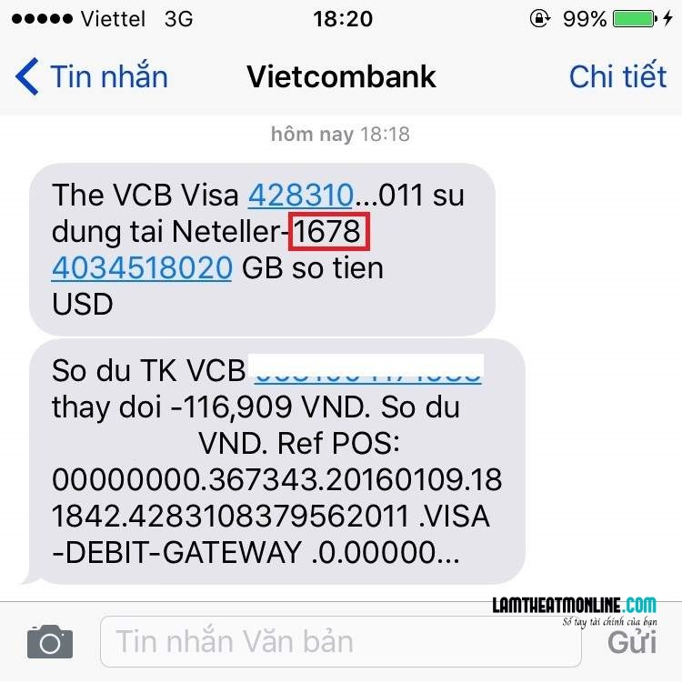 Hủy sms banking vietcombank