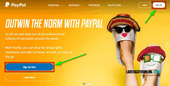 Tạo tài khoản Paypal